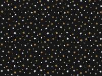 Cadeaupapier zwart Star goud/wit 50cmx200mtr