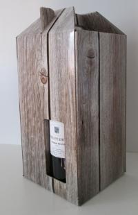 Draagdoos steigerhout 4 flessen  18x18x33cm