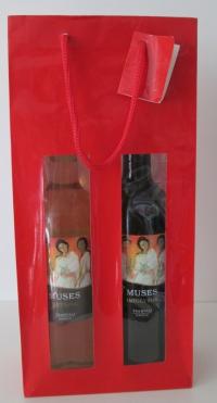 Flessentas glans rood met vensters 2 flessen
