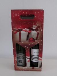 Draagdoos Kerst opdr. rood 2fles 18x9x40cm(p/20)