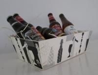 Houten mand bier print zwart (p/30 st.)