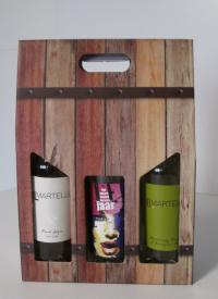 Draagdoos Oak barrel 3 flessen 27x9x40cm (p/20)