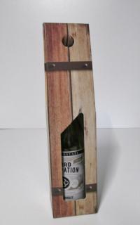Draagdoos Oak barrel+venster 1 fles 9x9x38cm (p/50)