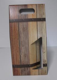 Draagdoos Oak barrel 2 flessen 18x9x40cm (p/20)