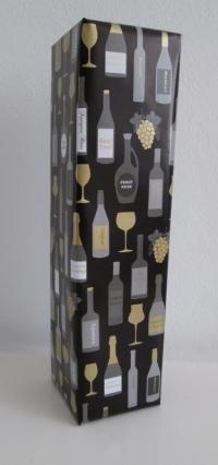 Cadeaupapier Flessen zwart  50cmx100mtr.