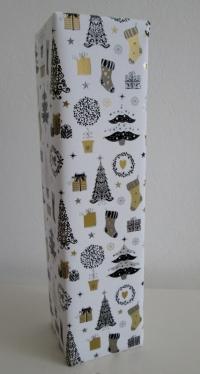 Cadeaupapier kerstdessin Wit+zw/zi/go.50cmx100mtr.