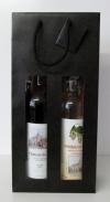 Tas kraft naturel Zwart Mat +venster 2 fles
