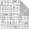 Cadeaupapier Mondriaan Zwart/Zilver  50cmx200 meter