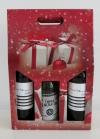 Draagdoos kerst opdr. rood 3 fles 27x9x40cm (P/20)