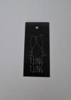 Wenskaartje 4,5x10cm zwart /wit Tjing Tjing(25st.)