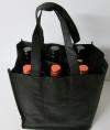 Six Bag Nonwoven tas voor 6 flessen zwart
