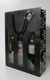 Flessentas Rosace Zwart/Wit met venster 3 flessen