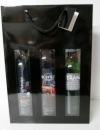 Flessentas glans zwart met vensters 3 flessen (P/10)