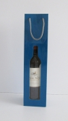 Tas Bottle Blue 1 fles +venster 9x39x9cm