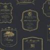 Cadeaupapier Wijnlabel Zwart/Goud  50cmx200 meter
