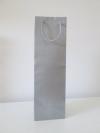 Flessentas +koord 1 fles zilver mat 12+9x39cm